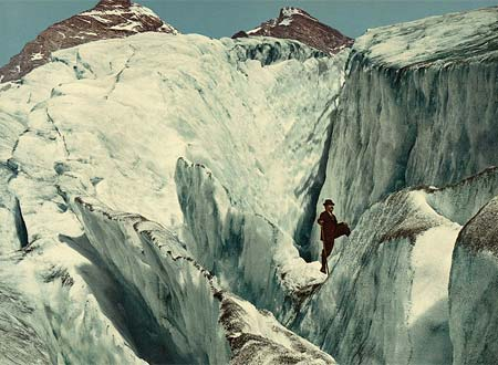 An old postcard of a crevasse in Illecillewaet Glacier, Canada