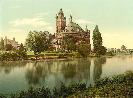 A historical photograph of the theatre in Stratford-on-Avon, created using the photochrom process