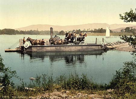 Historical photograph of a steam boat in the Lake District in England