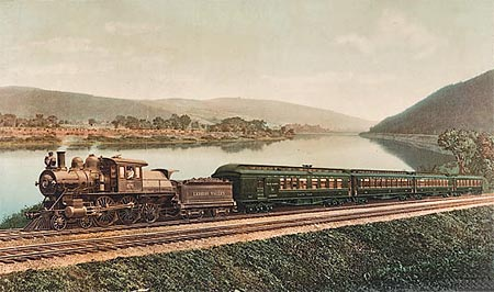 Historic photo of a locomotive and carriages crossing the Lehigh Valley in the USA