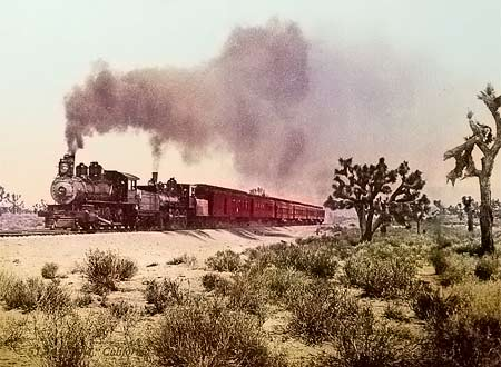 Historic photo of a railway in a desert in the USA