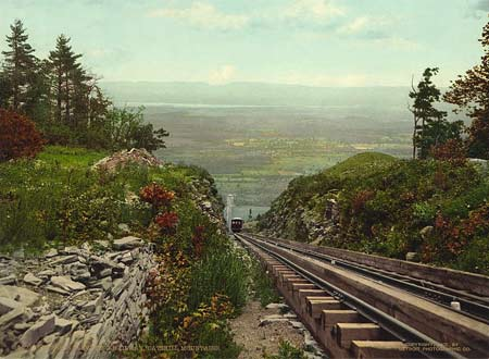 Historic photo of an Otis elevating railway and train