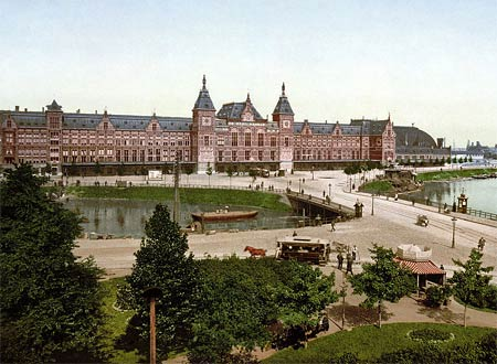 Historical photo of the railway station of Amsterdam, The Netherlands
