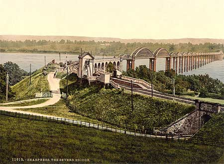 Historic photo of the rails and bridge in Sharpness, England