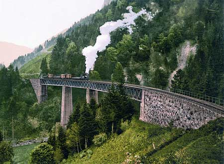 Historic photo of a train on a viaduct in the Black Forest region in Germany