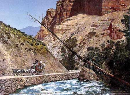 Historic photo of a coach and Gardner river