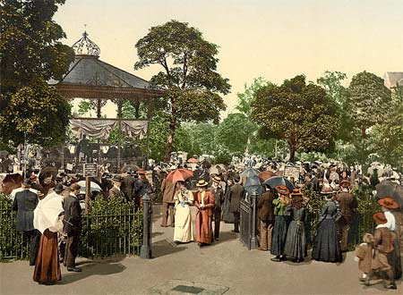 Historical photograph of Harrogate in England, printed as a postcard using the photochrom process