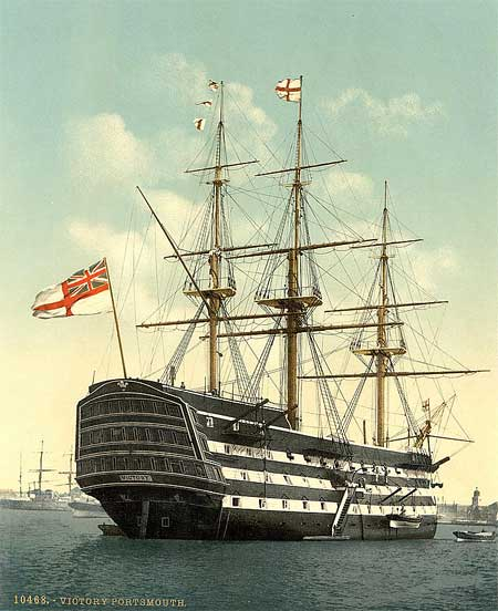 A historical photograph of the stern of admiral Nelson's flagship