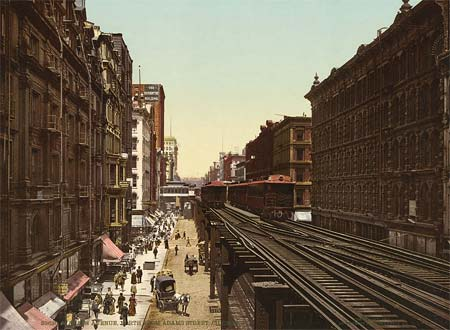 An old postcard depicting Wabash Avenue in Chicago, USA