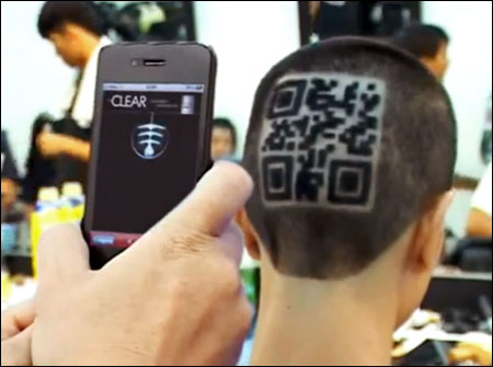 QR code based advertising in a haircut