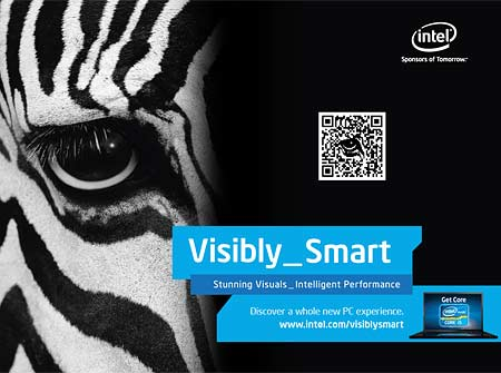 A QR code mimicks part of the layout of an Intel ad