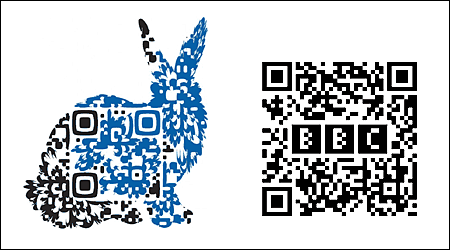 A QR Code with an embedded logo or graphic design