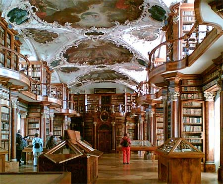 Photograph of the book collection in the Abbey of Saint Gall in Switzerland