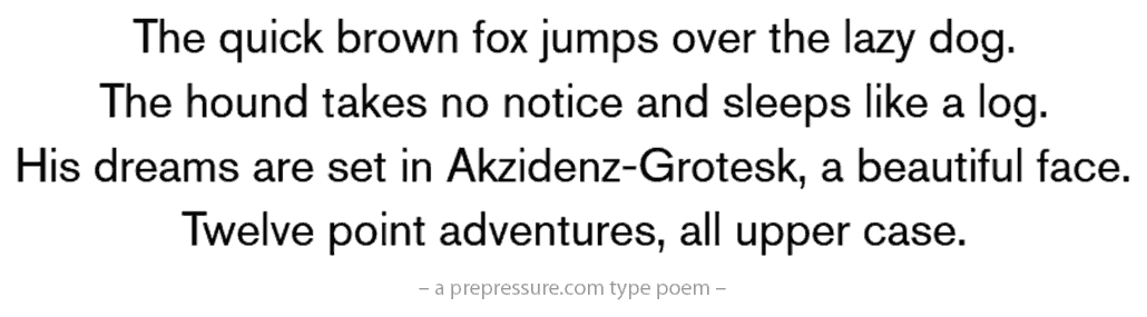 Akzidenz Grotesk typeface example