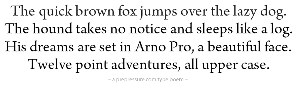 Arno Pro typeface example