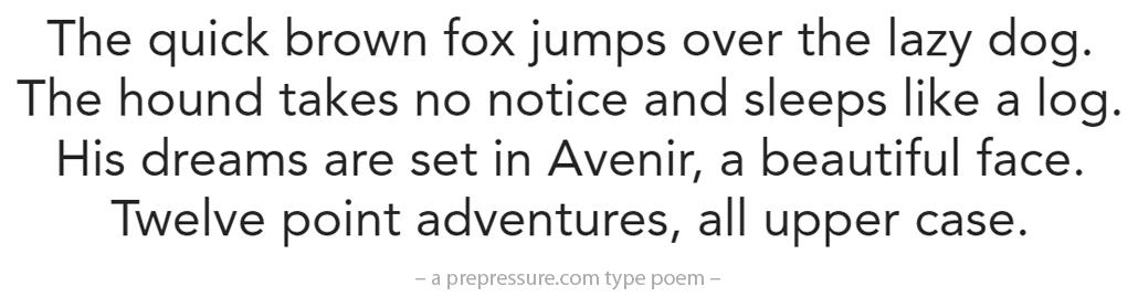 Avenir typeface example