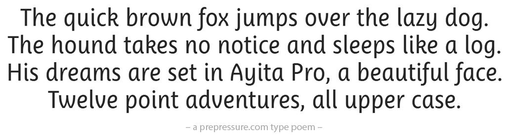 Ayita Pro typeface example
