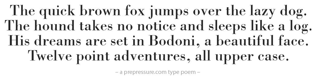 Bodoni typeface example