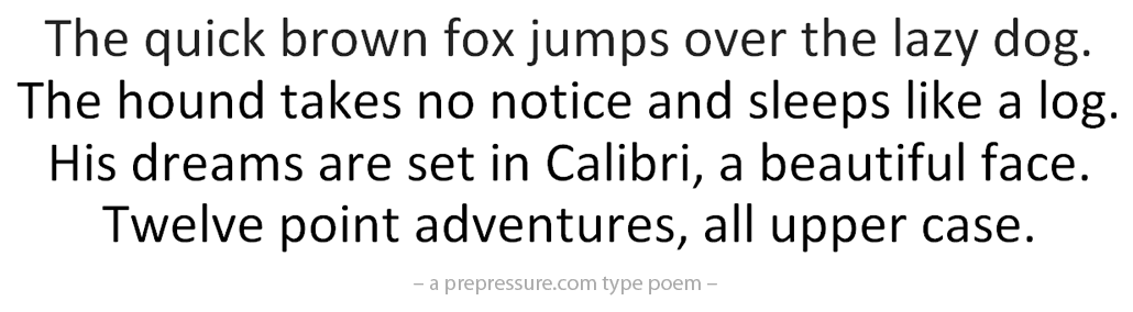 Calibri typeface example
