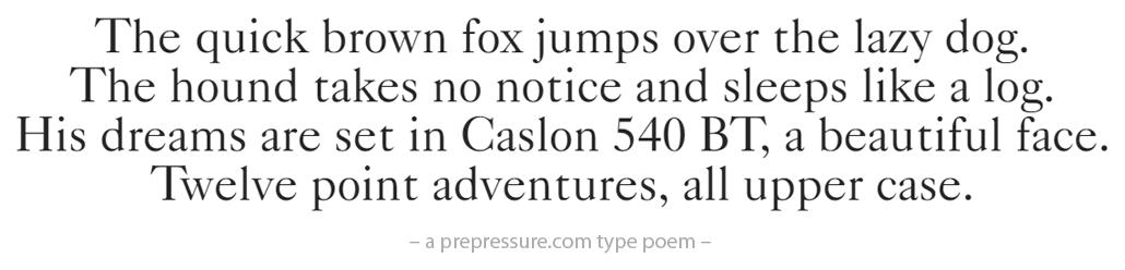 Caslon 540 BT typeface example