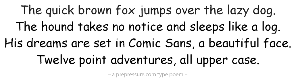Comic Sans typeface example