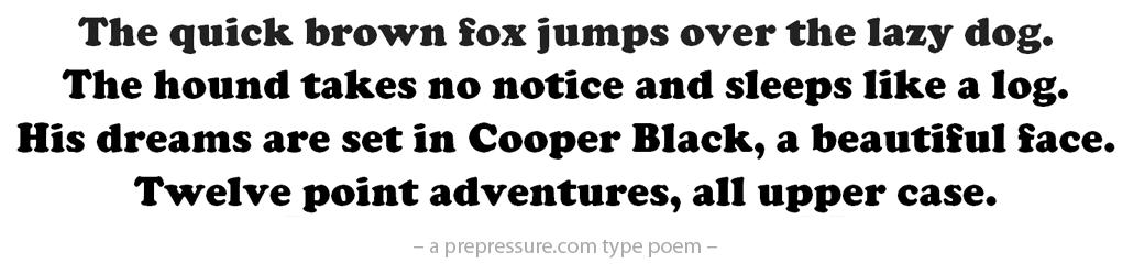 Cooper Black typeface example