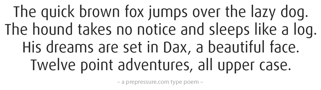 Dax typeface example
