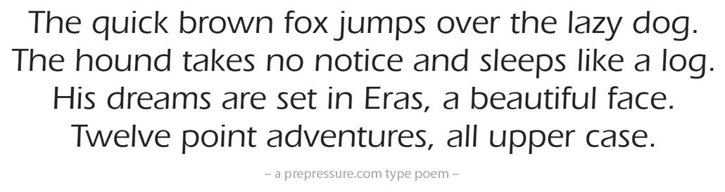Eras typeface example