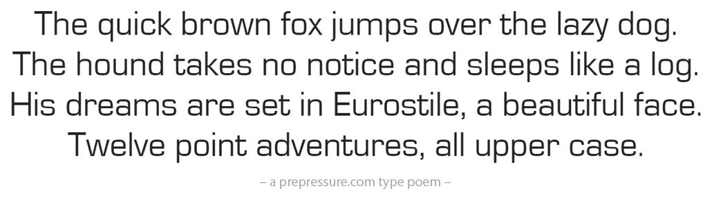 Eurostile typeface example