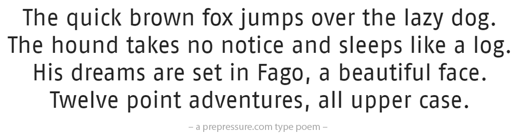Fago typeface example