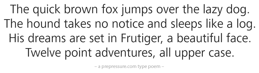 Frutiger typeface example