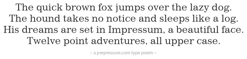 Impressum typeface example