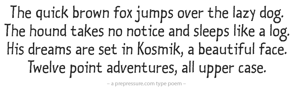 Kosmik typeface example
