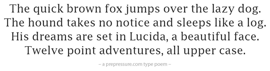 Lucida typeface example