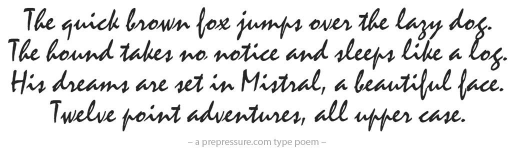 Mistral typeface example