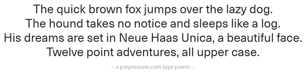 Neue Haas Unica typeface example