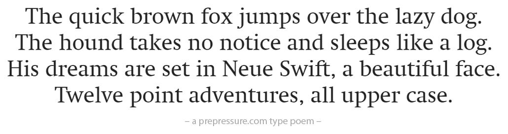Neue Swift typeface example