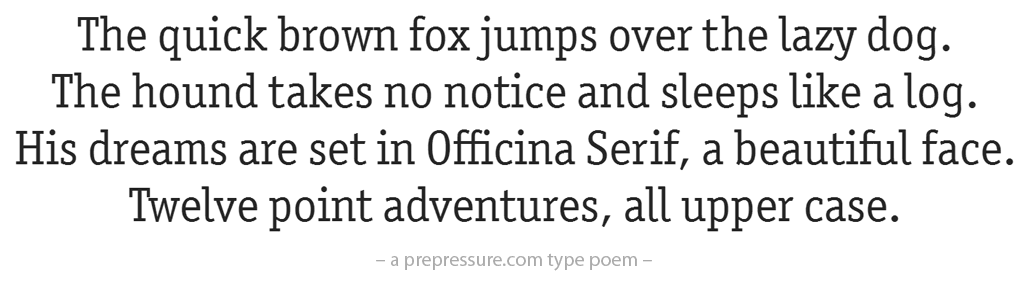 Officina typeface example