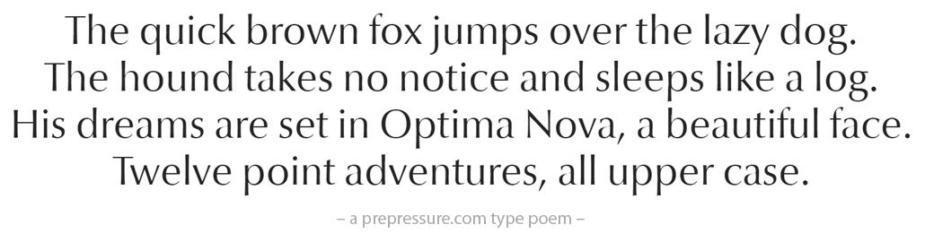 Optima Nova typeface example