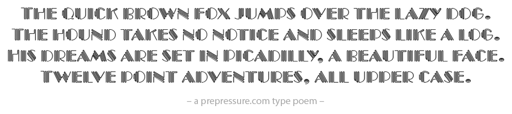 Picadilly typeface example