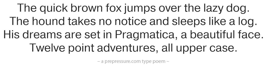 Pragmatica typeface example