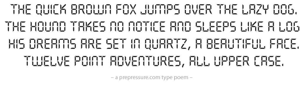 Quartz typeface example