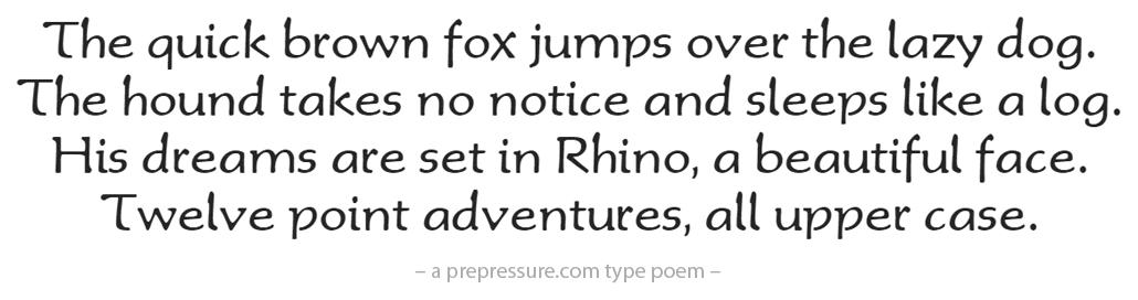 Rhino typeface example