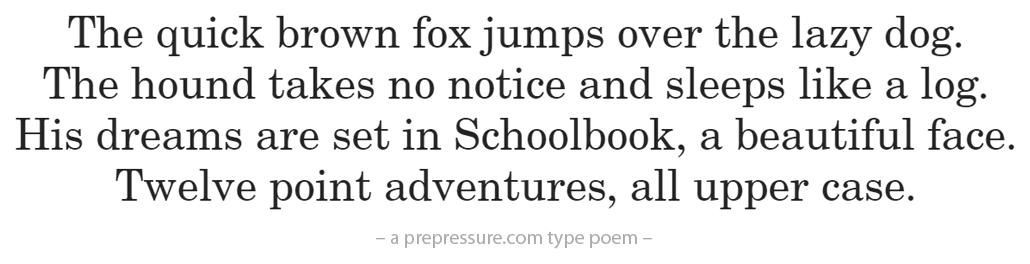 Schoolbook typeface example