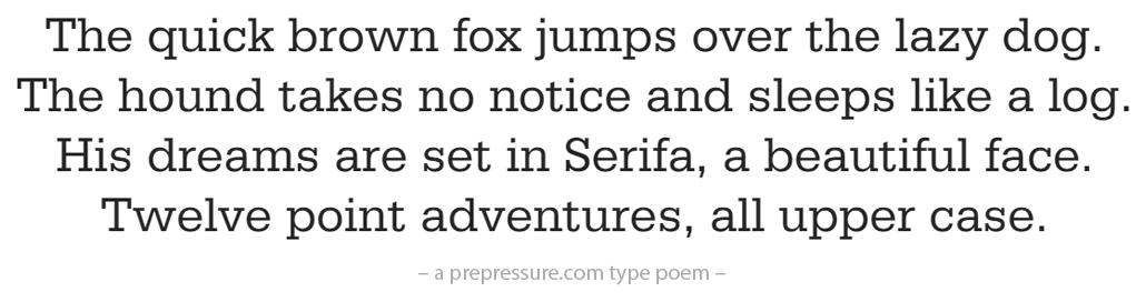 Serifa typeface example