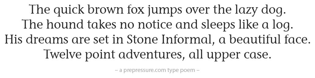 Stone Informal typeface example