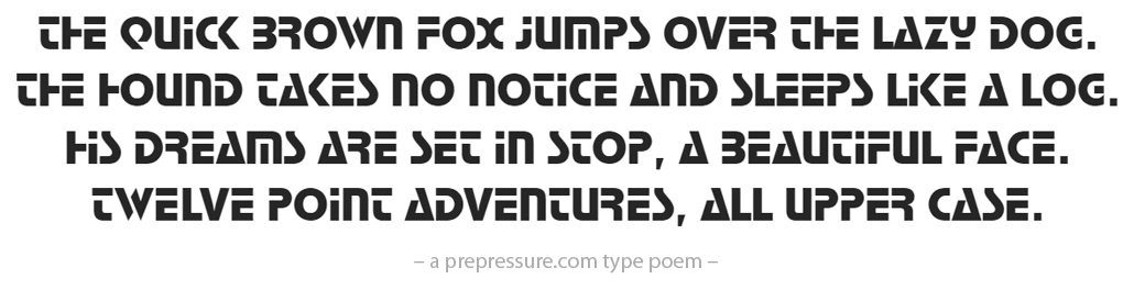 Stop typeface example