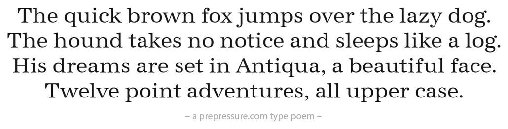 Antiqua typeface example