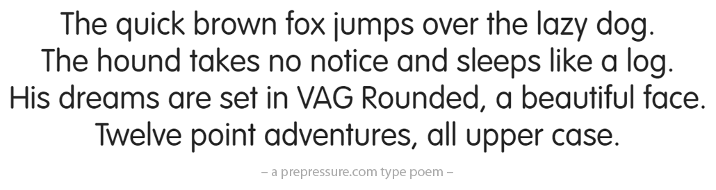 VAG Rounded typeface example