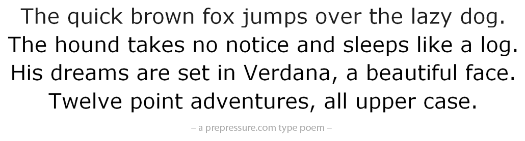 Verdana typeface example